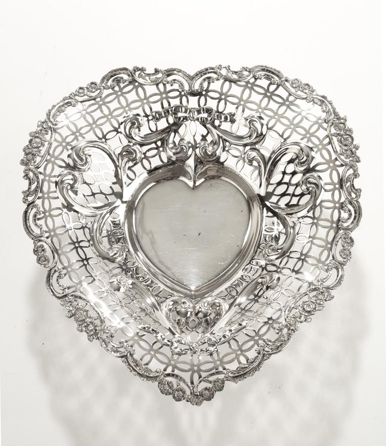 19th century Silver Heart Shaped Basket