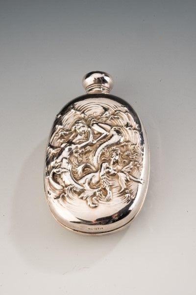 19th Century Sterling Silver Hip Flask