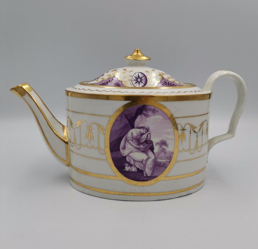 Early 19th Century Coalport Porcelain Gilt and Puce Teapot