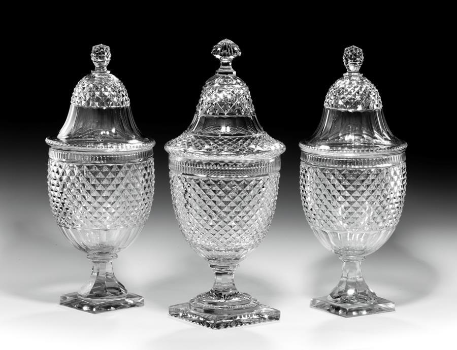 Trio of Large Cut Glass Bonbonnieres