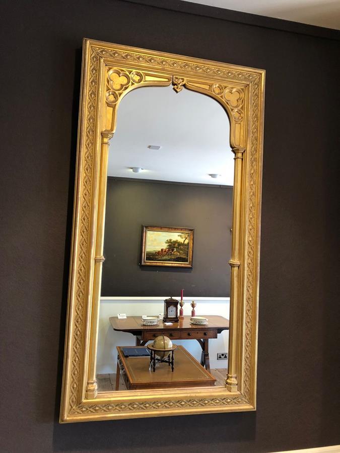 19th century Gilt wood Gothic wall mirror