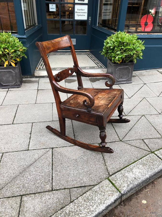 Yew wood rocker arm chair