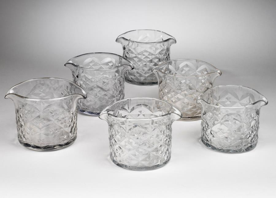 Set of 6 matched 19th century Georgian glass rinser bowls