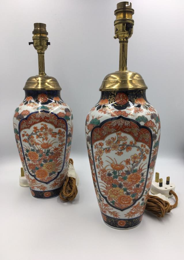Pair of 19th century Japanese Imari lamps