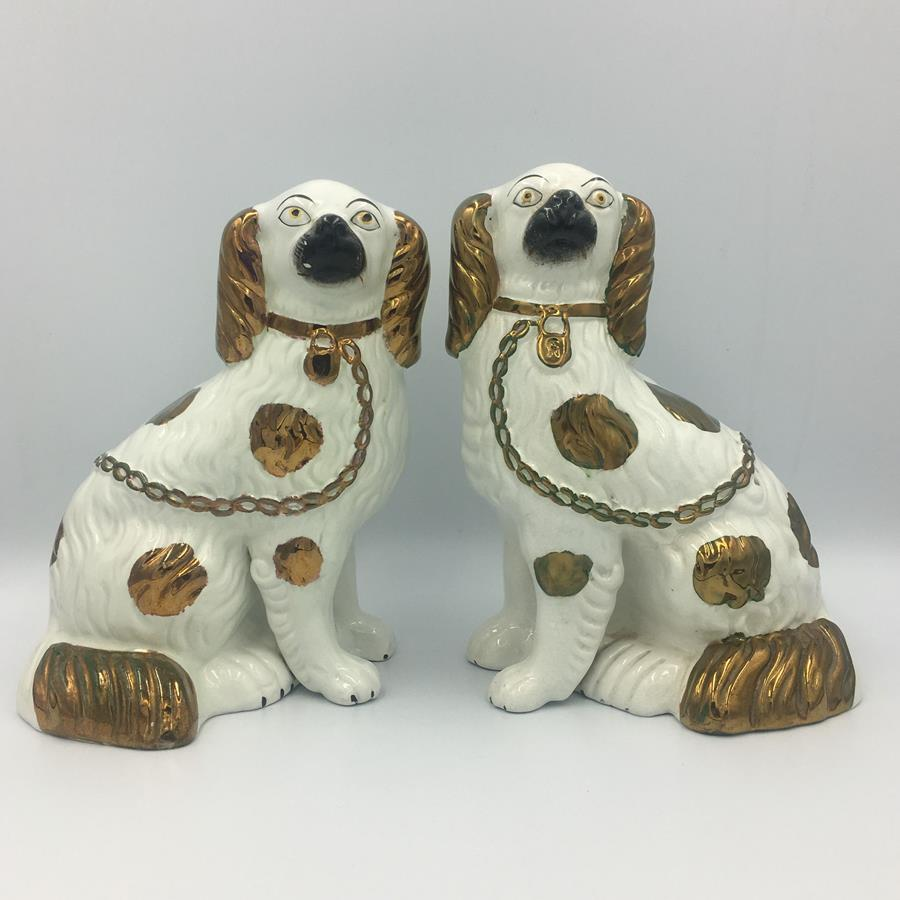 19th Century Pair of Staffordshire Copper Luster Dogs