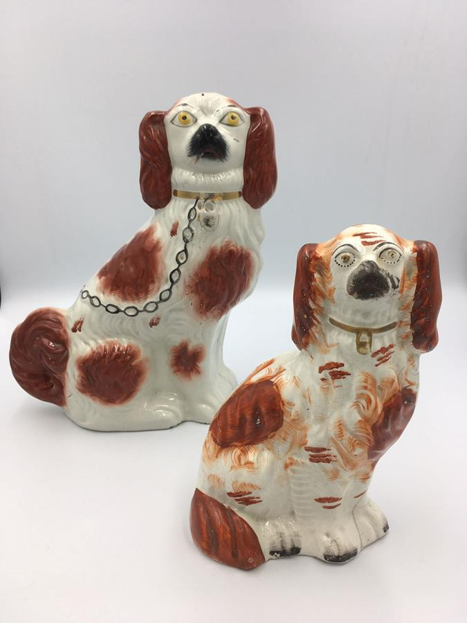 Two Victorian Single Red Pottery Staffordshire Dogs