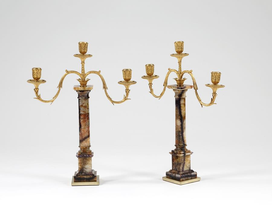 Pair Blue John and Ormolu Candelabra