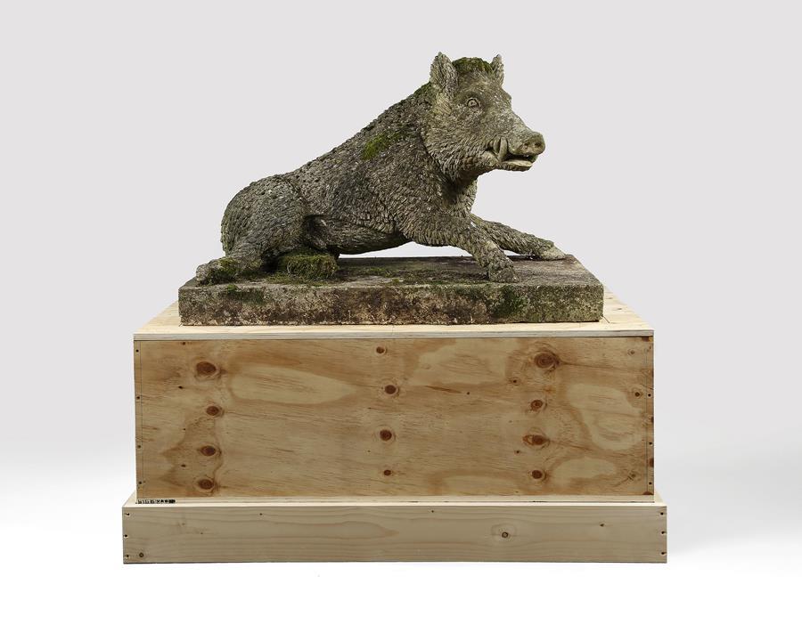 Large Stone Boar    garden ornament statue animal wild pig uffizi