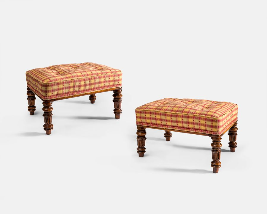 Pair of upholstered foot stools