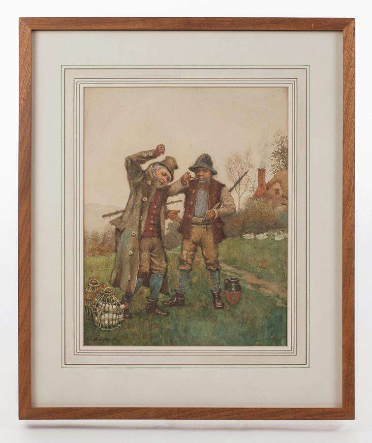 19th century Watercolour of two drunkards