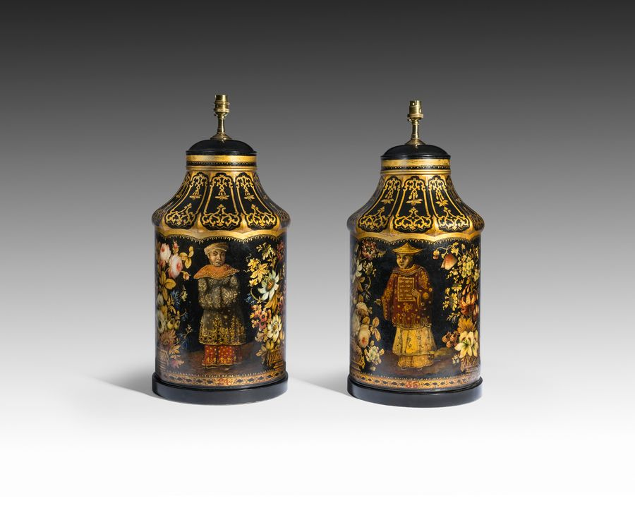 19th Century Pair of Tole Tea Canisters