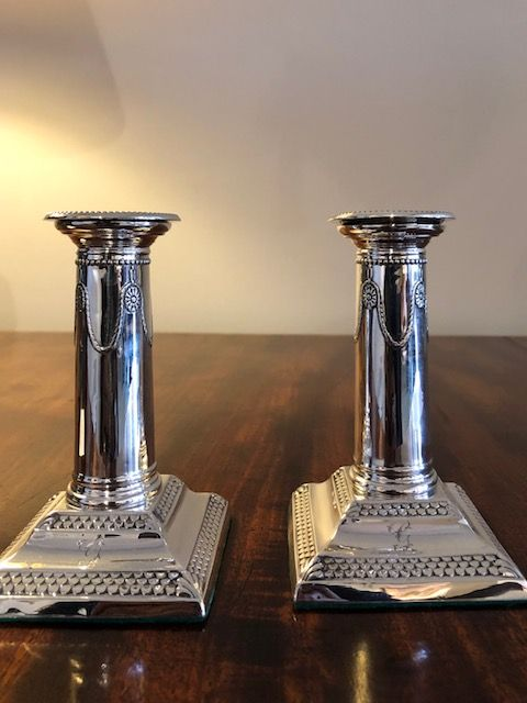 Pair of Edwardian Silver Candlesticks
