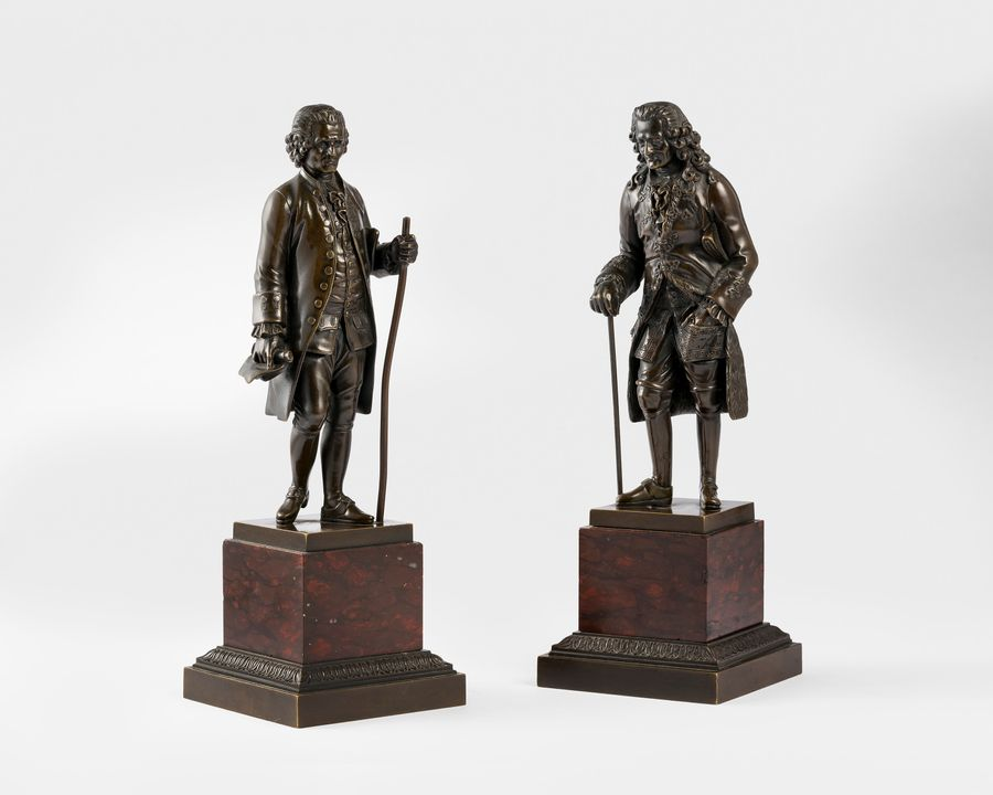 19th Century Bronze Figures 'Rousseau & Voltaire'