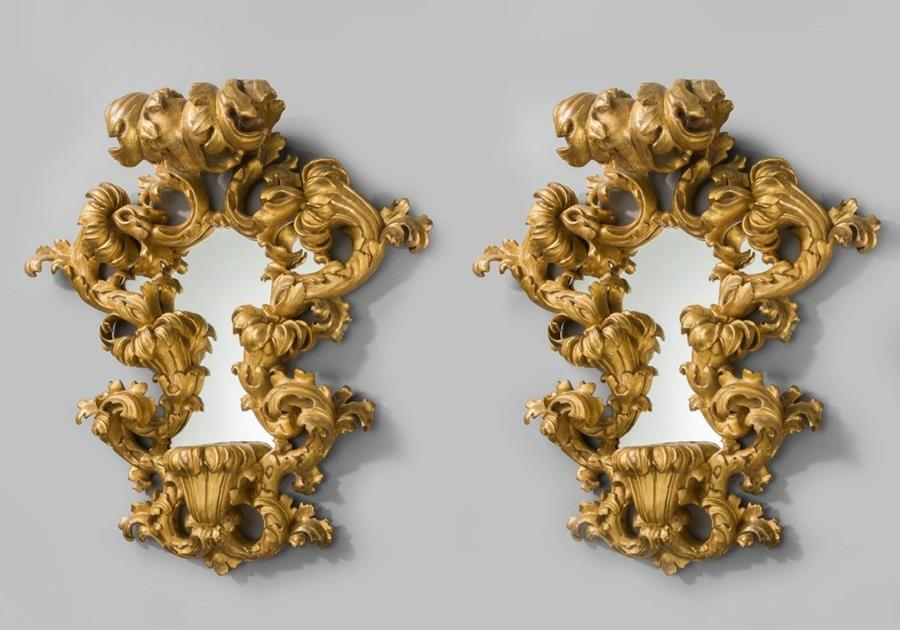 Pair of highly carved Italian girondoles