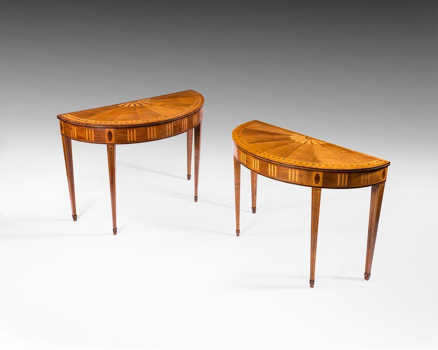 18th century pair of Irish demi lune tables