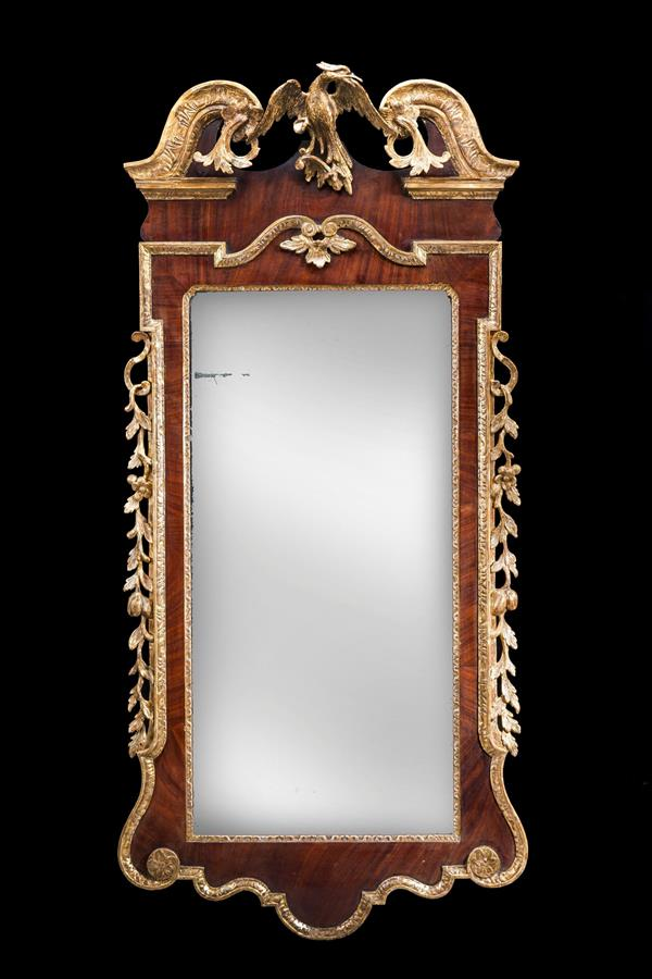 George II Mahogany and Parcel Gilt Mirror