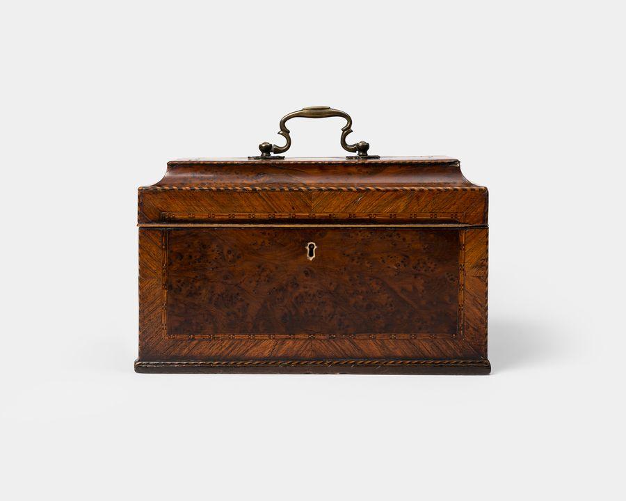 18th Century Burr-Yew Wood Tea Caddy