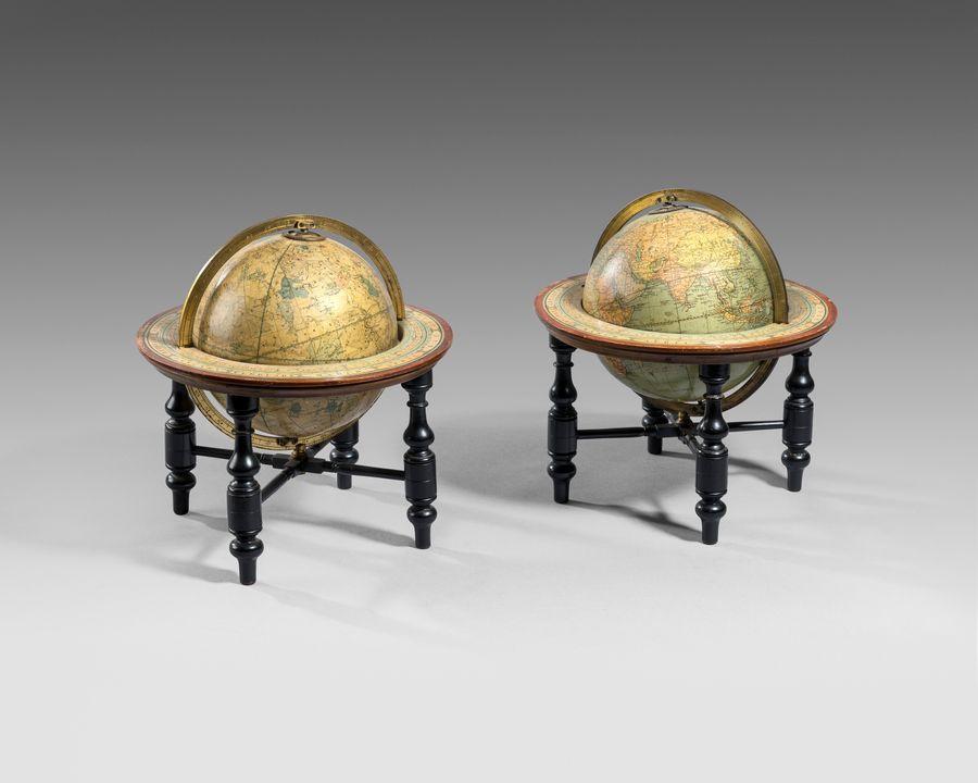 Pair 19th century 6 inch table globes by Johnston's, Edinburgh