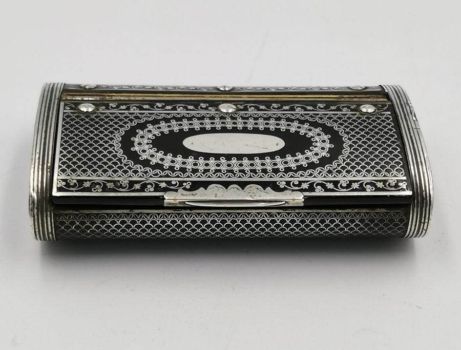 18th Century Silver Pique-work Papier Mache Snuff Box