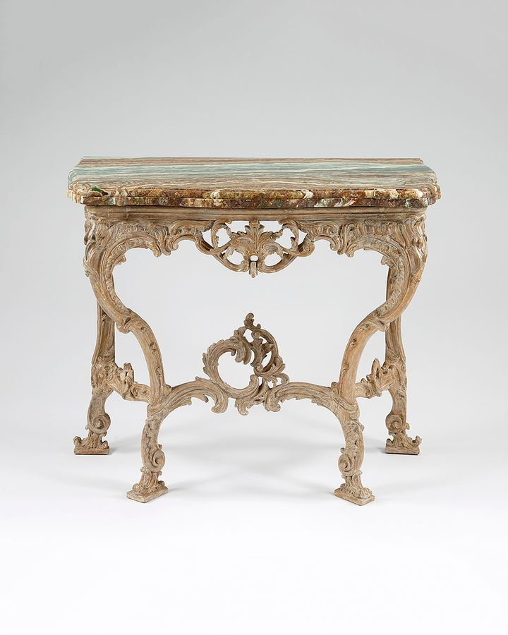 18th century carved wood and marble top console table