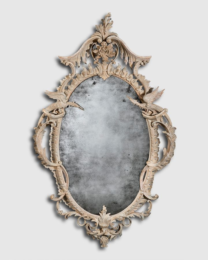 George III period Rococo carved wood mirror