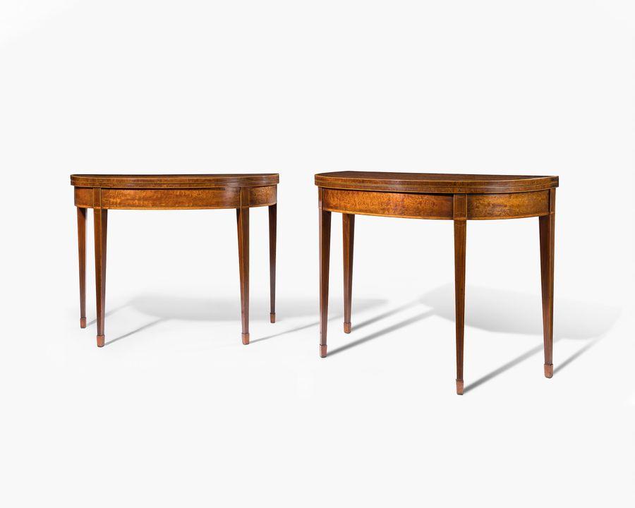 18th century pair of mahogany card tables