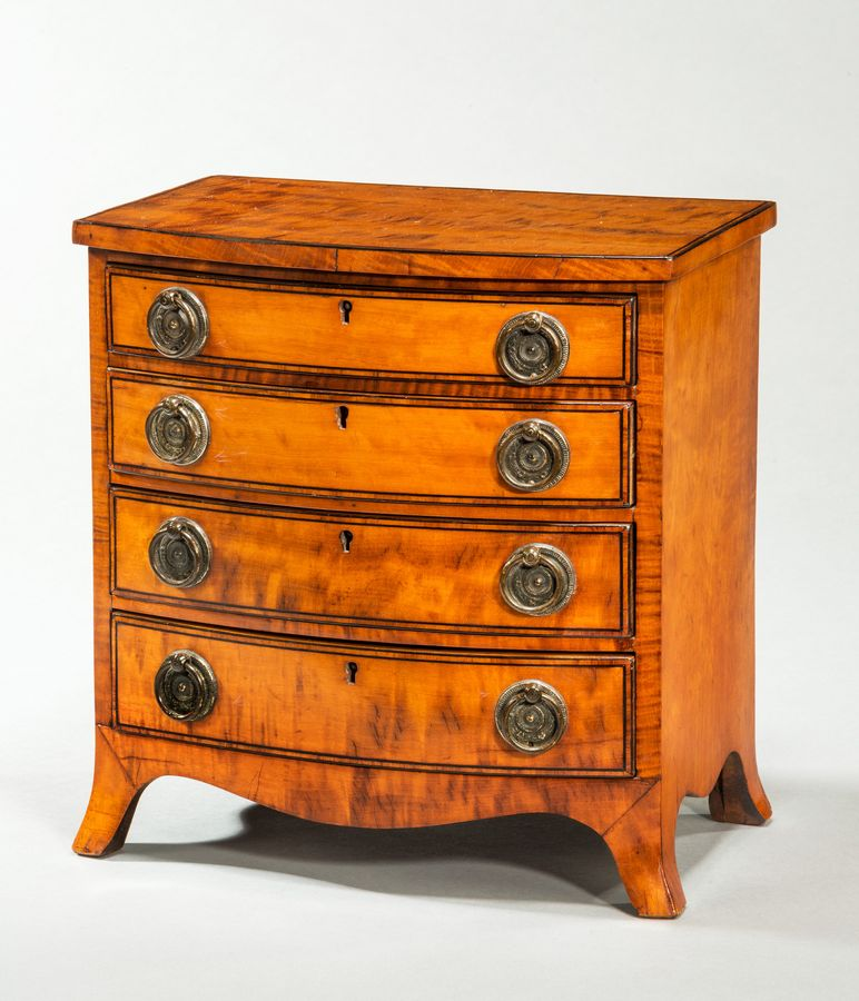 18th century satinwood miniature chest of drawers