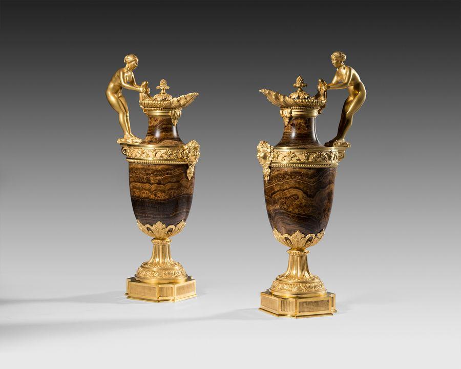 19th century pair of agate ewers by Ferdinand Barbedienne, Paris.