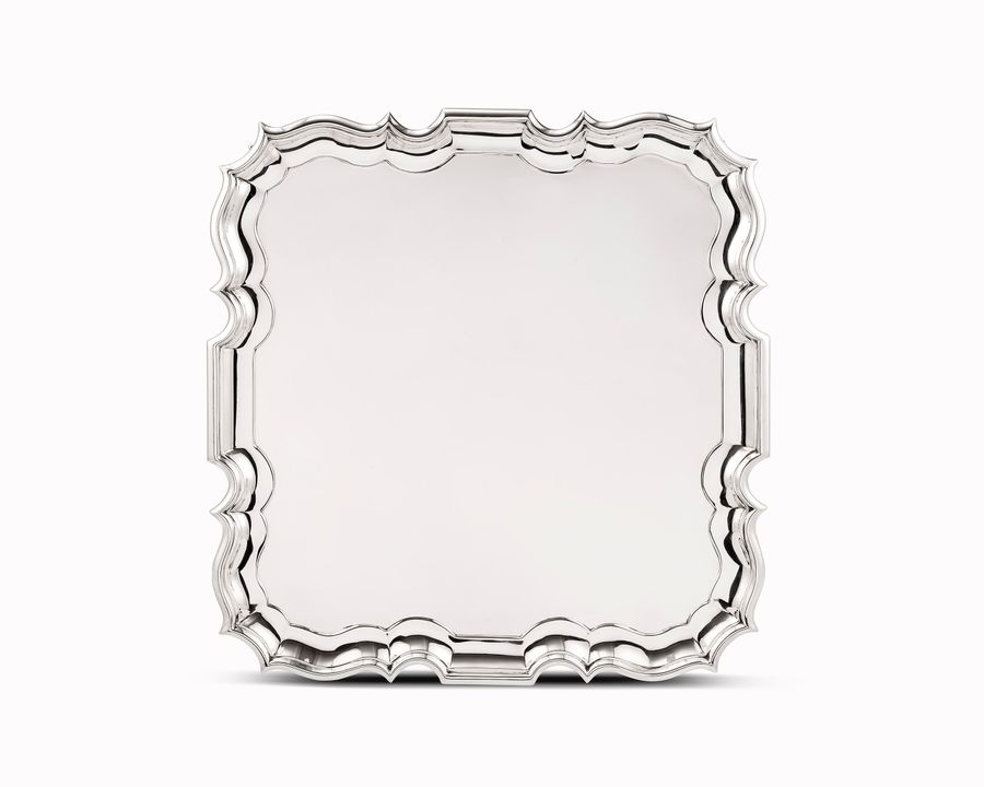 Large 19th century solid silver tray