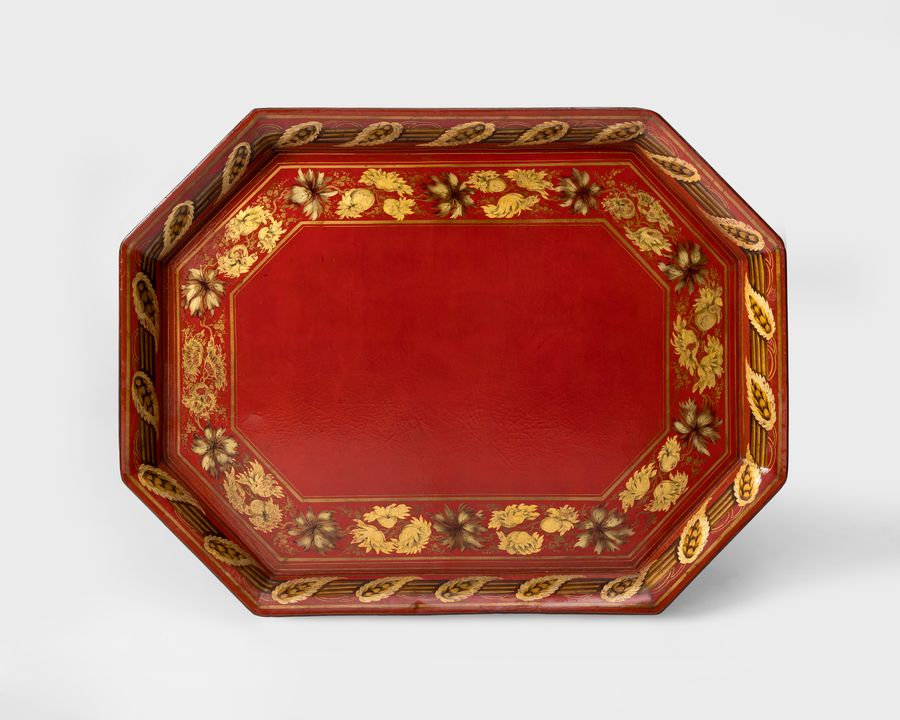 Early 19th Century Red Lacquer Papier Mache Tray