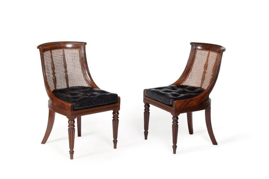 Pair of 19th century library chairs