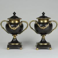Bronze & ormolu vase shaped candlesticks or pastel burners