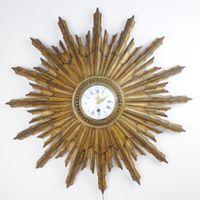 French, gilded wood sunburst clock
