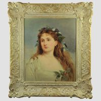 Oil on canvas Portrait of a young girl by Basil Bradley