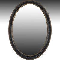 Mid 18th century oval black and gilt Mirror