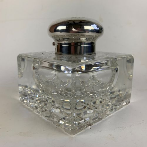 Large silver topped inkwell