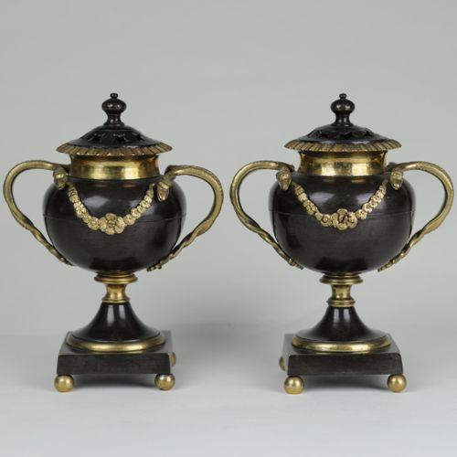 Bronze & ormolu vase shaped candlesticks or pastel burners