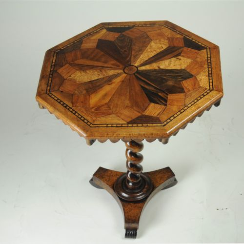 19th century Parquetry top specimen wood lamp table