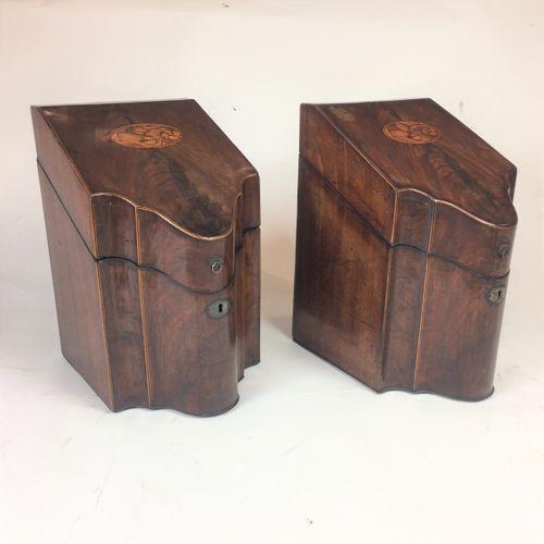 Pair of 18th century Sheraton mahogany former cutlery/knife boxes