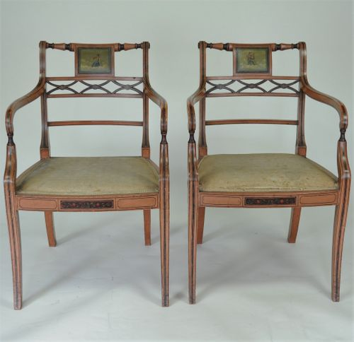 Pair of Sheraton revival painted armchairs