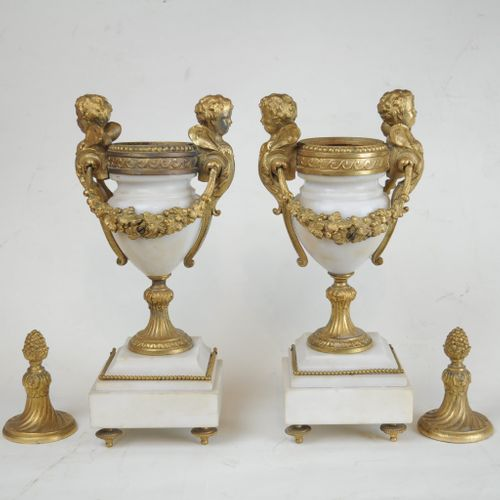 French white marble and gilt metal mantle clock garniture set