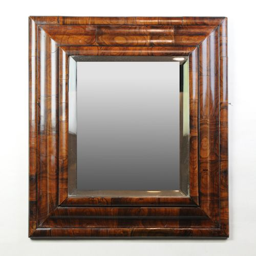 Queen Anne Oyster Veneered Cushion Mirror