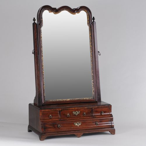 George II Walnut Dressing Table Mirror