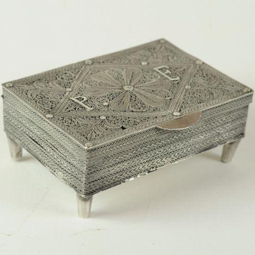 Continental silver filigree trinket box
