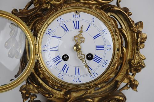 Gilt metal cartel wall clock