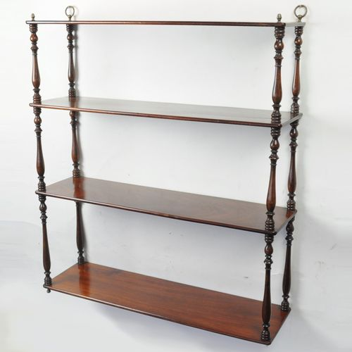 Regency period mahogany hanging shelves