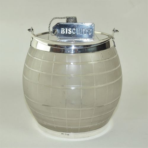 Glass and silver mounted Biscuit Barrel by Martin Hall & Co.