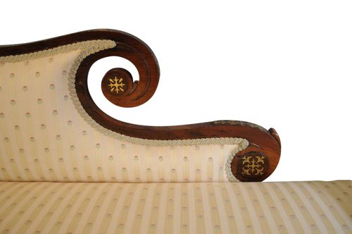 Exceptional Regency Brass Inlaid Chaise Longue