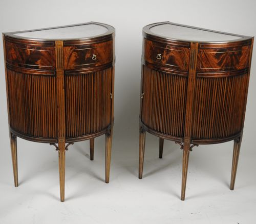 Fine Pair of French Mahogany and Brass inlaid Bedside/Side Cabinets/Commodes