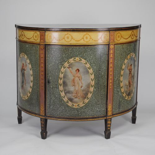 Pair of Painted semi elliptical side cabinets by Wright & Mansfield